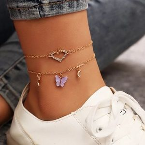 Butterfly and Hearts Gold Anklet Set Moon Crests
